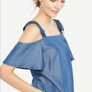 Ann Taylor Bow Tie Chambray Blouse Size S